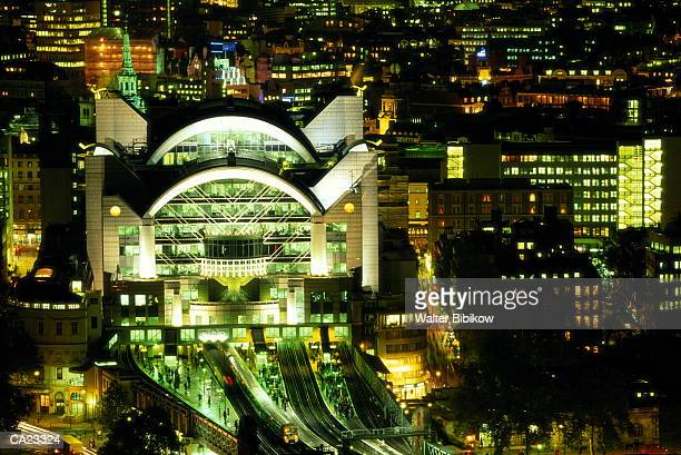England, London, Charing Cross Station, night, elevated view