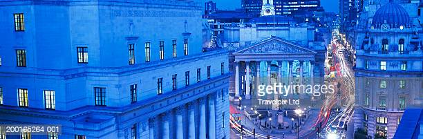 England, London, City of London, Royal Exchange at night
