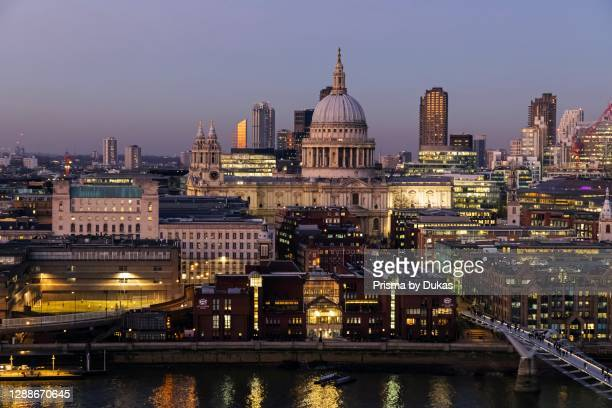 England, London, City of London, St Paul's Cathedral with Millenium Bridge and City of London Skyline.