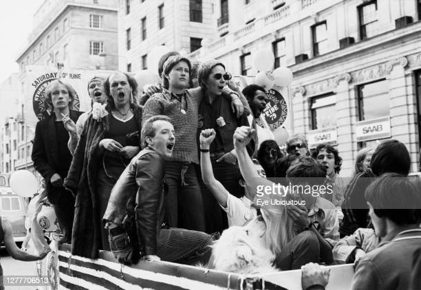 England, London, Gay Pride parade, Pall Mall 30 June, demonstrators, peaceful protest. Ford Transit carnival float.