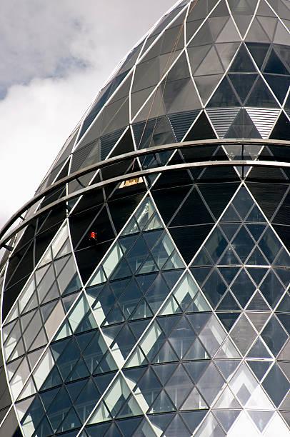 England, London, glass window pane detail on Swiss Re building ('The Gherkin')