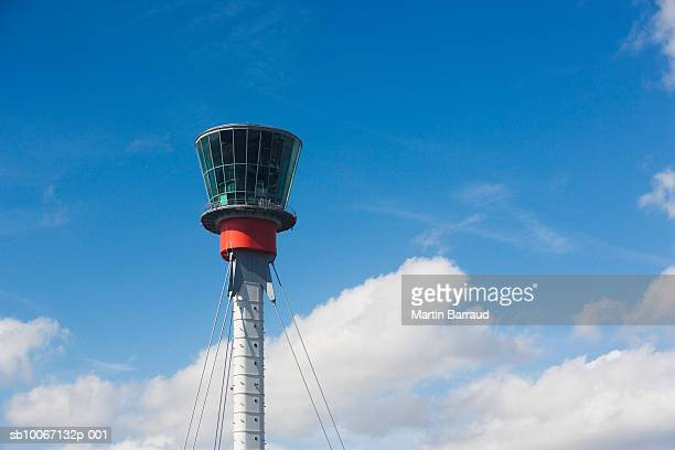 England, London, Heathrow Airport, Control tower at airport, low angle view