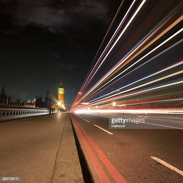 uk, england, london, light trail on westminster bridge - mattscutt stock pictures, royalty-free photos & images