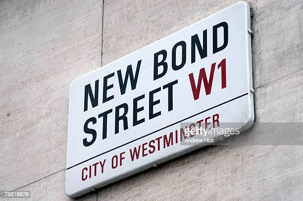 England, London, New Bond Street sign on wall