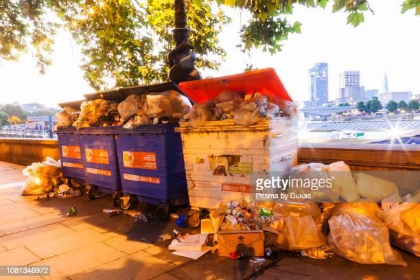 England London Overflowing Rubbish Bins