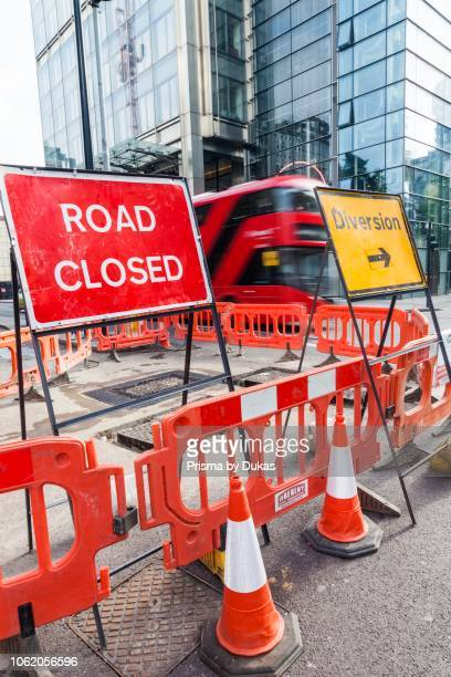 England London Road Closed and Diversion Sign