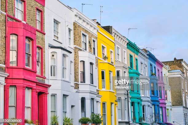 uk, england, london, row of colorful houses in notting hill - notting hill stock pictures, royalty-free photos & images