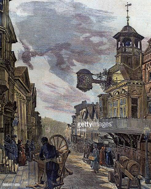 England London Scene of street 19th century Engraving by Millerlove 'La Ilustracion Iberica' 1885 Colored