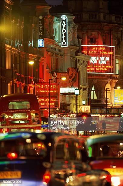 england, london, shaftesbury avenue illuminated at night - ロンドン ソーホー ストックフォトと画像