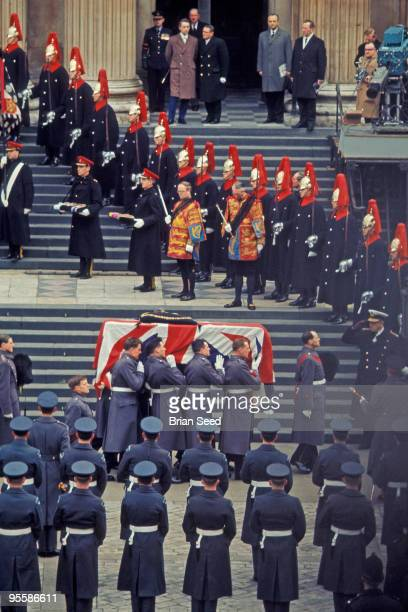 England London Sir Winston Churchill's funeral the steps of StPaul's Cathedral His coffincarried by members of the Royal Airforce and covered by the...