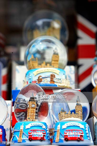 """""""England, London, snow globes on display in tourist shop"""""""
