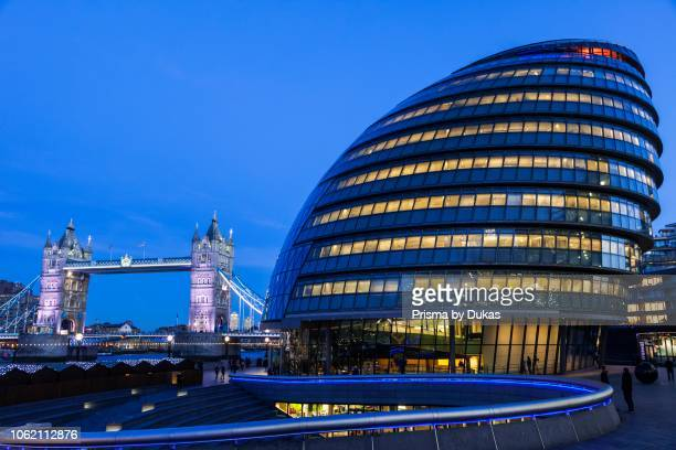 England, London, Southwark, City Hall and Tower Bridge