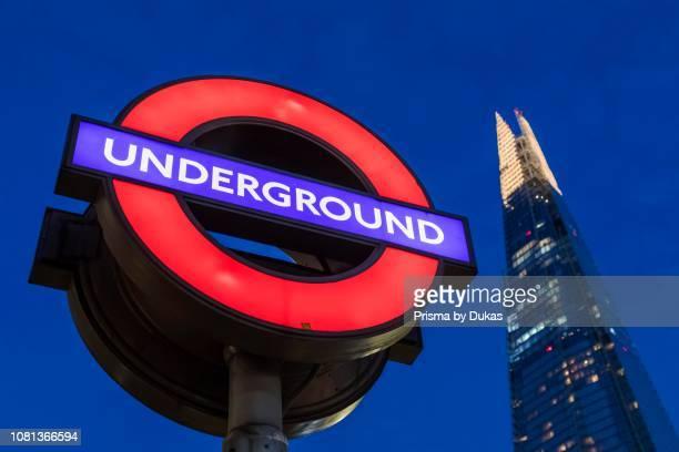 England London Southwark London Bridge City Underground Sign and The Shard