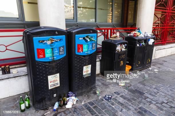 England, London, Southwark, Overflowing Southwark Council Rubbish Bins.