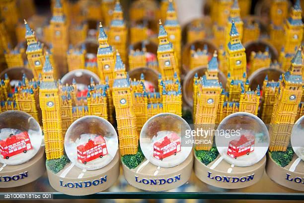 England, London, souvenirs on shelf