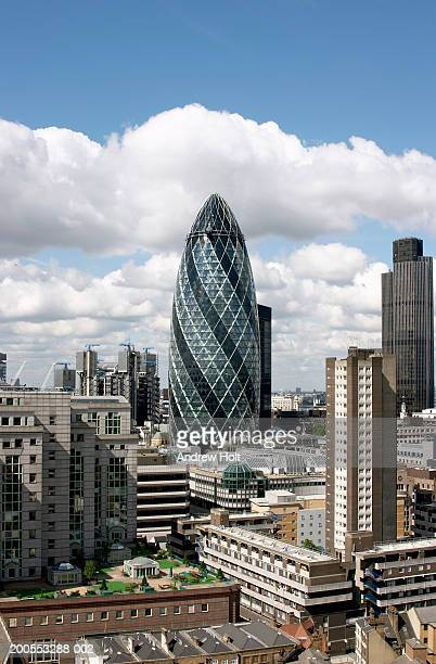England, London, Swiss Re building ('The Gherkin') and Tower 42 (Nat West Tower)