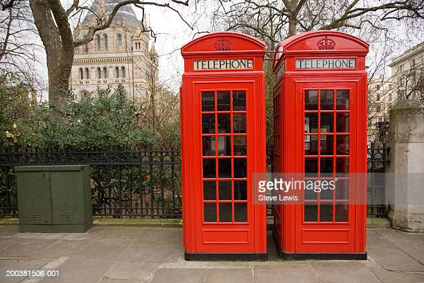 England, London, telephone booths beside Natural History Museum