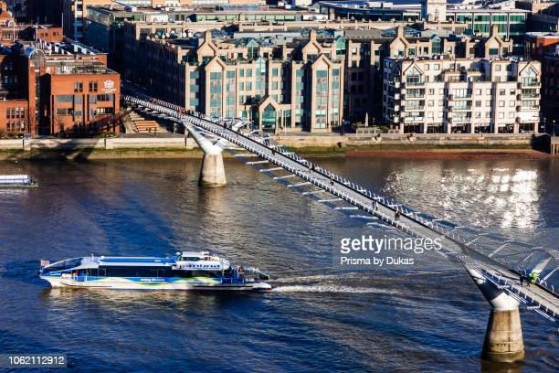 England London The City Millenium Bridge and River Thames