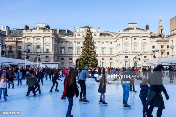 England, London, The Strand, Somerset House, Ice Skating