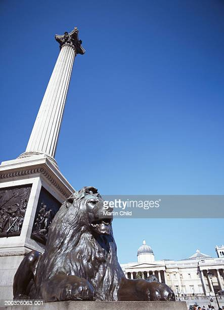 england, london, trafalgar square, lion statue by nelson's column - trafalgar square stock pictures, royalty-free photos & images