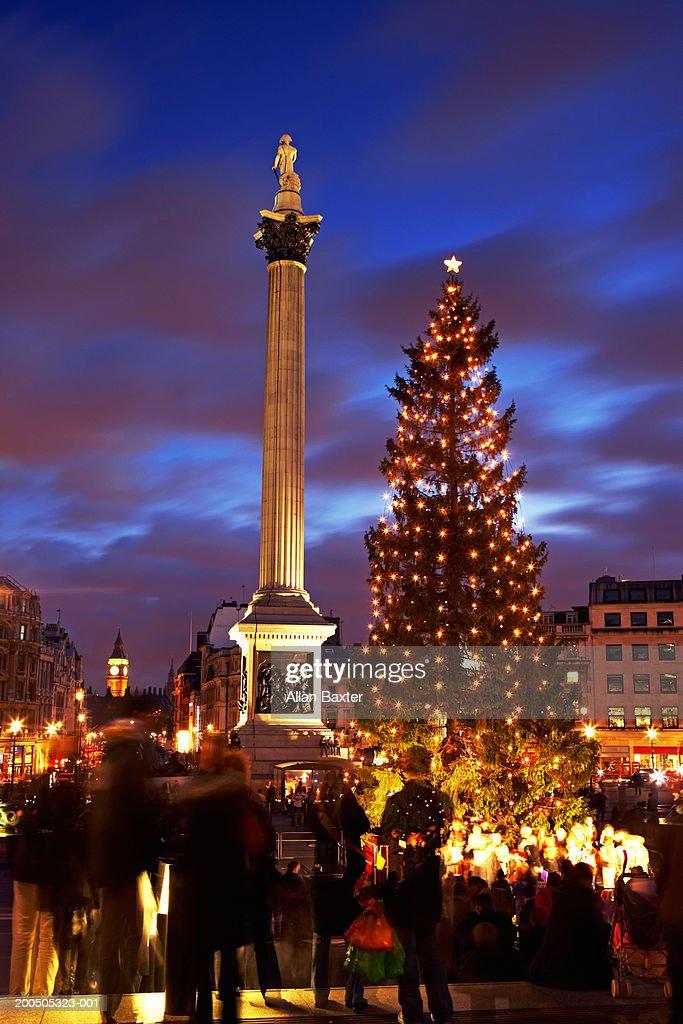 England Christmas.England London Trafalger Square Nelsons Column And Christmas