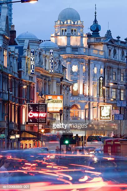 england, london, traffic in shaftesbury avenue - shaftesbury avenue london stock photos and pictures