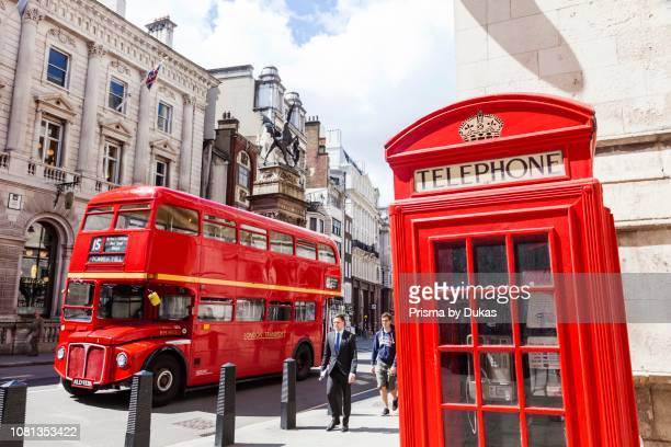 England London Vintage Routemaster Doubledecker Red Bus and Red Phone Box