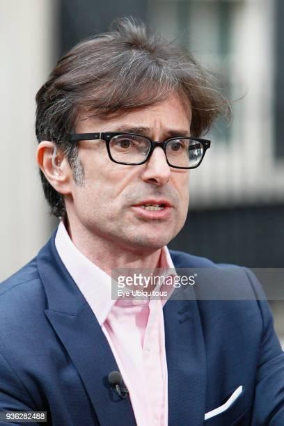 England London Westminster News reporter Robert Peston outside Downing Street