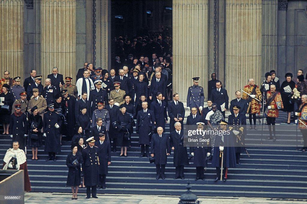 Sir Winston Churchill funeral assembled dignitairies. : News Photo