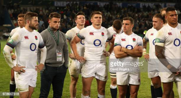 England look dejected after their defeat during the second test match between South Africa and England at Toyota Stadium on June 16 2018 in...