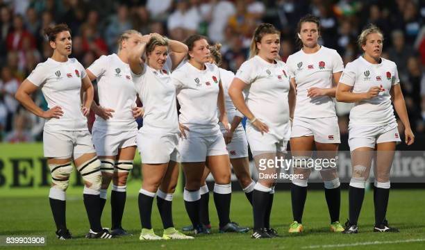 England look on during the Women's Rugby World Cup 2017 Final betwen England and New Zealand at the Kingspan Stadium on August 26 2017 in Belfast...