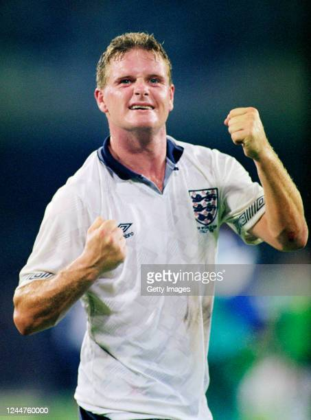England maestro Paul Gascoigne celebrates after the 1990 FIFA World Cup quarter final match between England and Cameroon at the San Paolo Stadium on...