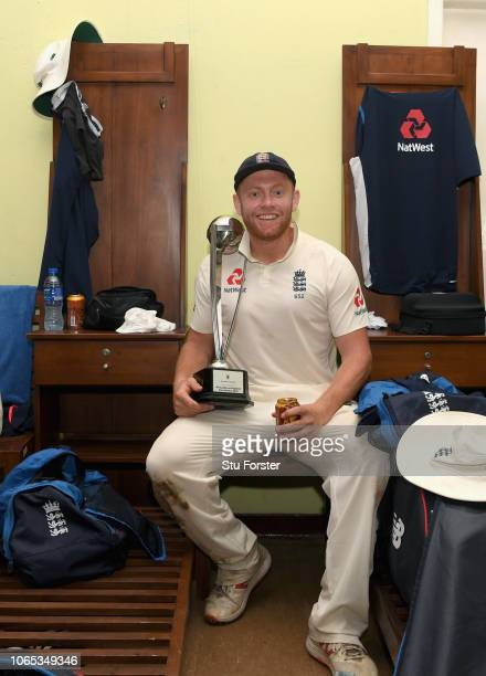 England man of the match Jonny Bairstow with the trophy in the dressing room after their 30 series victory after Day Four of the Third Test match...