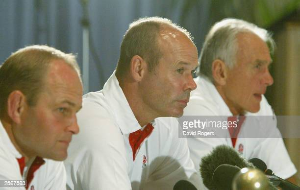 England Management team Andy Robinson Clive Woodward and Phil Larder talk to the press prior to the forthcoming Rugby World Cup at the Novotel on...