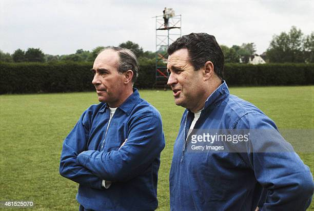 England manager Alf Ramsey and his assistant Harold Shepherdson pictured at a training session circa 1966