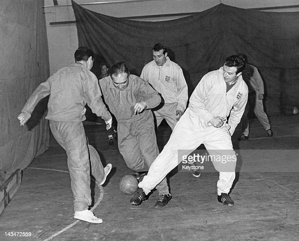 England manager Alf Ramsey playing in a sevenaside match during a training session with the national team at Stanmore RAF station 13th February 1963...