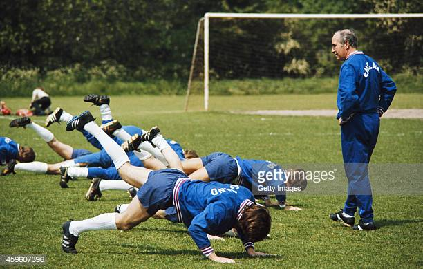 England manager Alf Ramsey supervises an England training session circa 1969