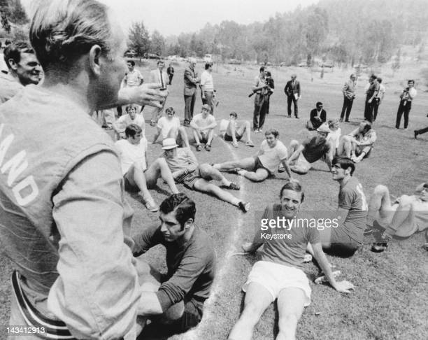 England manager Alf Ramsey with his team at a training session during the World Cup in Mexico MayJune 1970