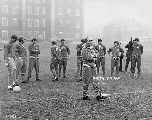 England manager Alf Ramsey with players during a training session at Roehampton London 9th December 1969 The team is preparing for a match against...