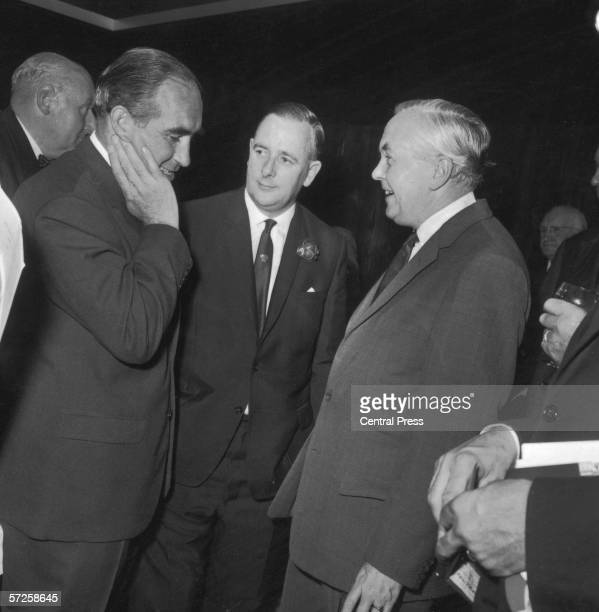 England manager Alf Ramsey with Prime Minister Harold Wilson and Minister of Sport Dennis Howell at a reception for the England football team and...