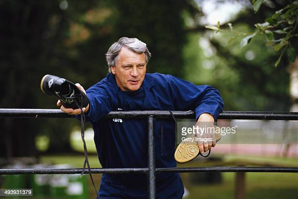 England manager Bobby Robson looks on at England Training on June 1 1989 in England