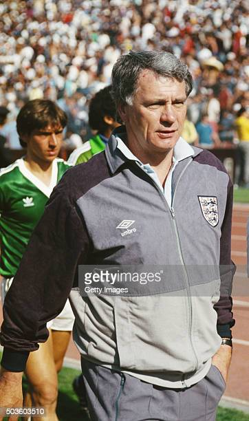 England manager Bobby Robson looks on before the 1988 European Championships match between England and Republic of Ireland at Neckarstadion on June...