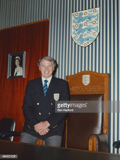 England manager Bobby Robson raises a smile at the FA Headquarters on June 1 1988 in London England