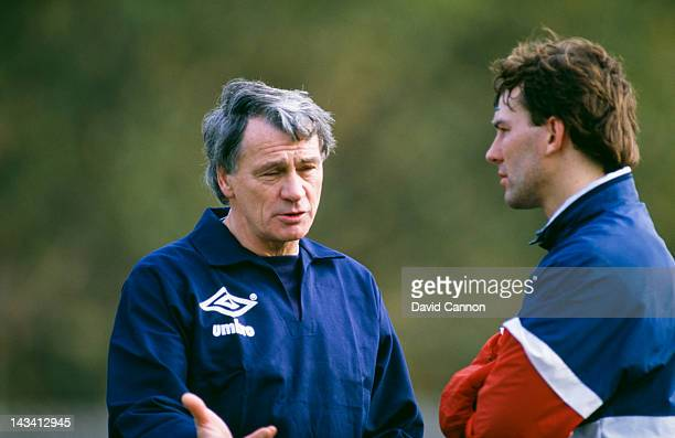 England manager Bobby Robson with player Bryan Robson at an England training session circa 1985