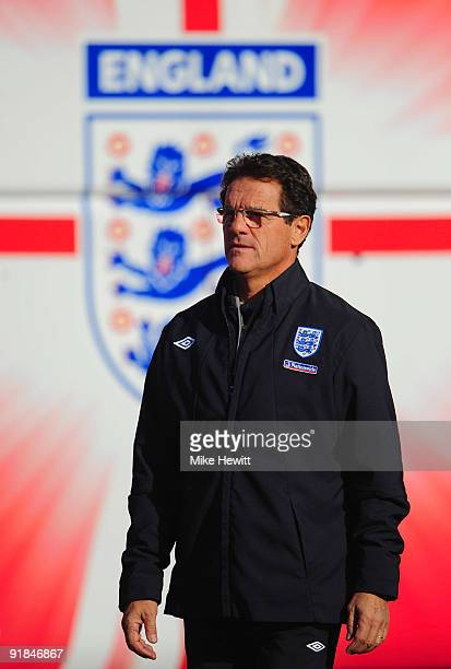 England manager Fabio Capello arrives for an England training session at London Colney on October 13 2009 in St Albans England