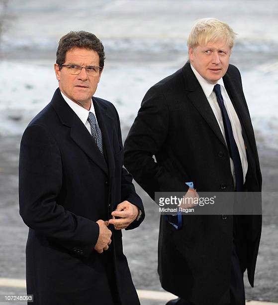 England Manager Fabio Capello arrives with London Mayor Boris Johnson before the FIFA World Cup 2018 & 2022 Host Announcement on December 2, 2010 in...