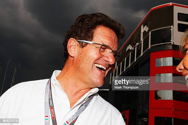 England manager Fabio Capello attends qualifying for the Italian Formula One Grand Prix at the Autodromo Nazionale di Monza on September 12 2009 in...