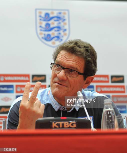 England manager Fabio Capello gestures as he speaks to the media ahead of the England training session ahead of their UEFA EURO 2012 Group G...