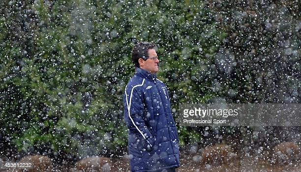 England manager Fabio Capello is seen during preparations for the March 26 international friendly match against France at London Colney, North...