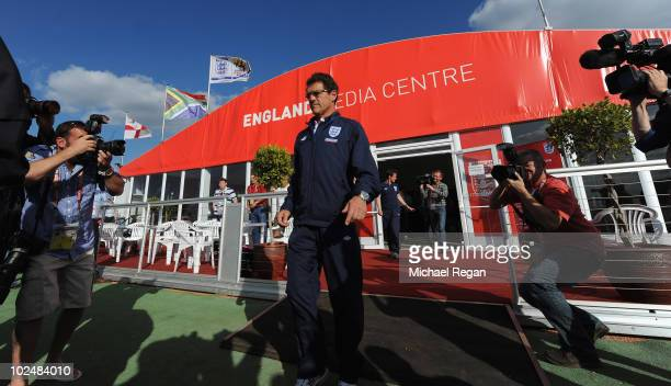 England manager Fabio Capello leaves the England Press Conference at the Royal Bafokeng Sports Campus on June 28, 2010 in Rustenburg, South Africa.